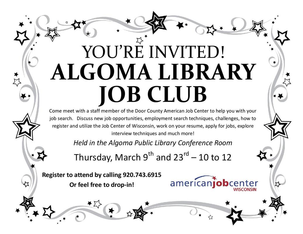 job club algoma public library algoma job club